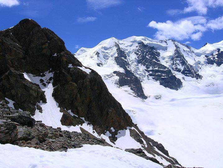Foto: Andreas Koller / Klettersteig Tour / Klettersteig Piz Trovat (3146m) / Nochmals der Blick zum Piz Trovat und Piz Palu (3905 m) / 18.07.2009 00:04:28