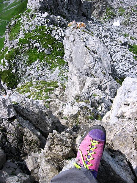 Foto: Andreas Koller / Klettersteig Tour / Klettersteig Rigidalstock (2593 m) / Rückblick zur Schlüsselstelle / 15.07.2009 02:03:38
