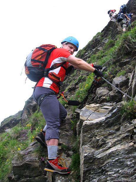 Foto: Andreas Koller / Klettersteig Tour / Klettersteig Graustock (2662 m) / Der erste Aufschwung (leicht) / 15.07.2009 23:55:26