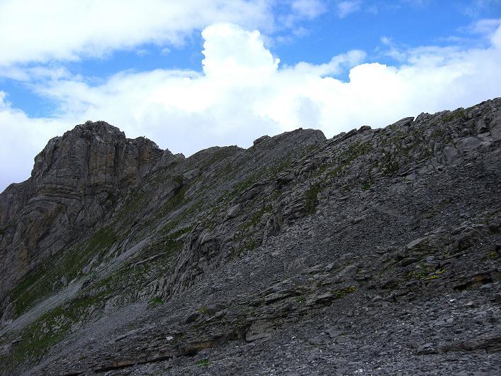 Foto: Andreas Koller / Klettersteig Tour / Klettersteig Graustock (2662 m) / Rückblick zum Graustock! Ab nun geht's gemütlicher zur Sache. / 15.07.2009 23:40:46
