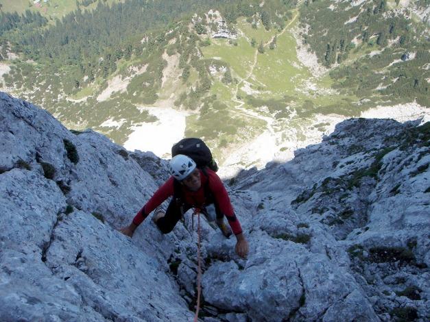 Foto: Manfred Karl / Kletter Tour / Scheffauer Nordwand Ostlerführe / Am unteren Rand der Ostlerplatte / 17.07.2009 18:34:17