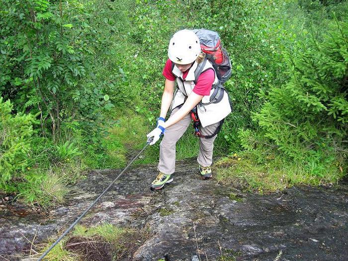 Foto: Andreas Koller / Klettersteig Tour / Klettersteig Lomseggen (1524m) / Erste Drahtseilpassage (A/B) / 05.08.2009 17:04:07