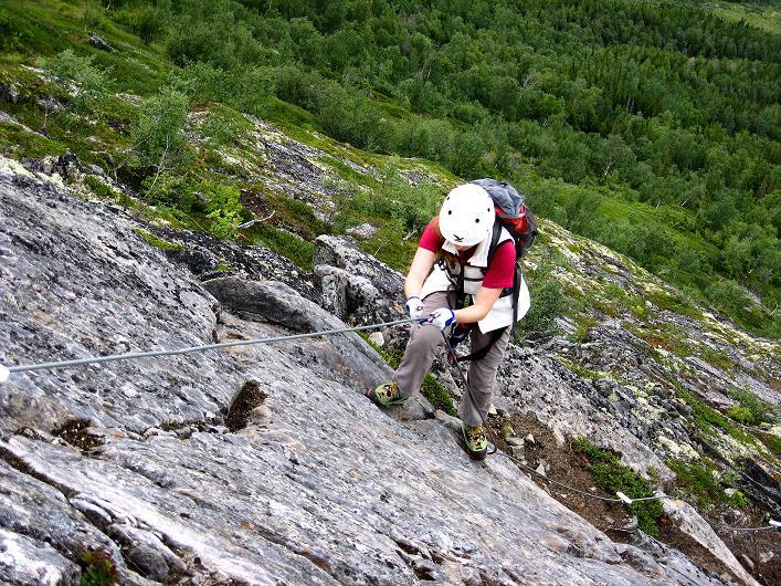 Foto: Andreas Koller / Klettersteig Tour / Klettersteig Lomseggen (1524m) / Immer wieder auf Reibung klettern / 05.08.2009 16:54:52