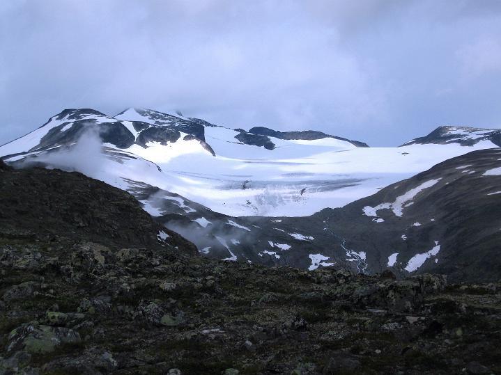 Foto: Andreas Koller / Wander Tour / Von Spiterstulen auf den Glittertind (2465 m) / Blick zum Galdhopiggen (2469 m) mit dem Styggebreen / 05.08.2009 19:00:43