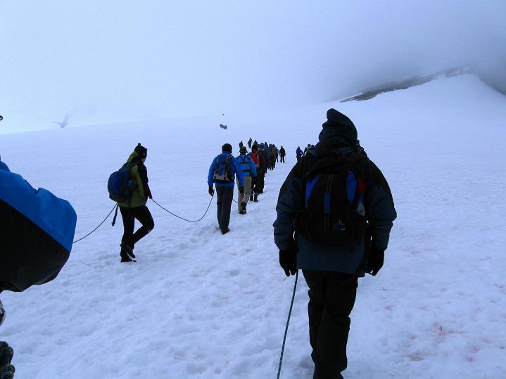 Foto: Andreas Koller / Wander Tour / Galdhopiggen (2469m) - Gletschertour auf den höchsten Berg Nordeuropas  / Massenabfertigung am Styggebreen / 07.08.2009 01:10:34