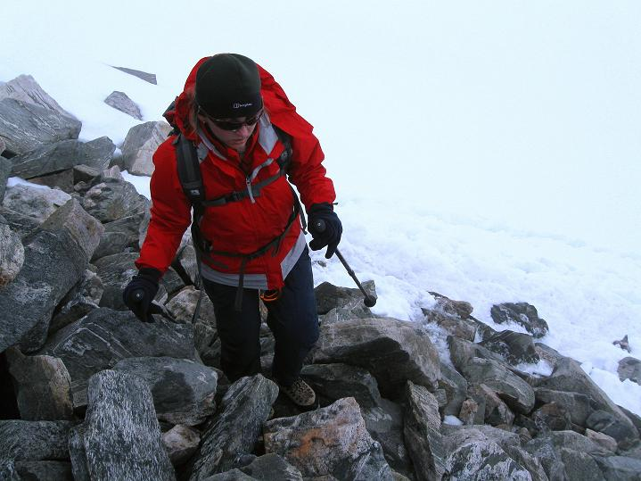 Foto: Andreas Koller / Wander Tour / Galdhopiggen (2469m) - Gletschertour auf den höchsten Berg Nordeuropas  / Übergang auf den N-Sporn / 07.08.2009 01:08:29