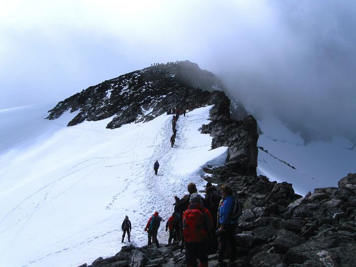 Foto: Andreas Koller / Wander Tour / Galdhopiggen (2469m) - Gletschertour auf den höchsten Berg Nordeuropas  / Am N-Sporn / 07.08.2009 01:05:46