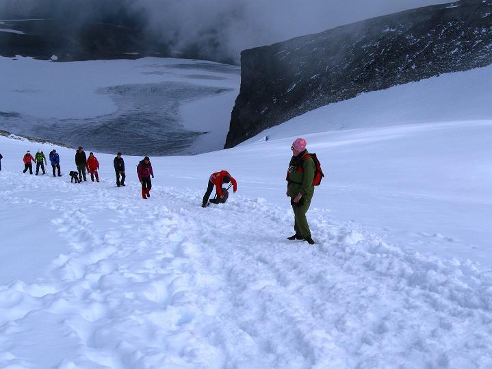 Foto: Andreas Koller / Wander Tour / Galdhopiggen (2469m) - Gletschertour auf den höchsten Berg Nordeuropas  / Die letzten Höhenmeter zum Gipfel des Galdhopiggen / 07.08.2009 01:01:59