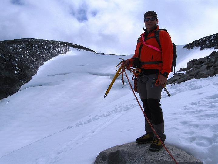 Foto: Andreas Koller / Wander Tour / Galdhopiggen (2469m) - Gletschertour auf den höchsten Berg Nordeuropas  / Übertritt zum Gletscher / 07.08.2009 00:52:36