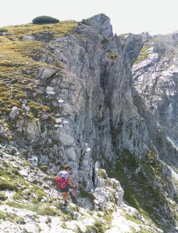 Foto: Wolfgang Lauschensky / Wander Tour / Herbertspitze (2137m) / aus der Scharte links der Ostgrat und rechts der querende Abstieg zu den Pisten / 24.08.2012 19:14:52