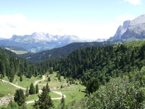 Foto: hofsab / Mountainbike Tour / Rund um den Schlern über Eselrücken (2560 m) und Prügelweg / Blick über die Seiser Alm zum Langkofel / 27.08.2009 21:03:06