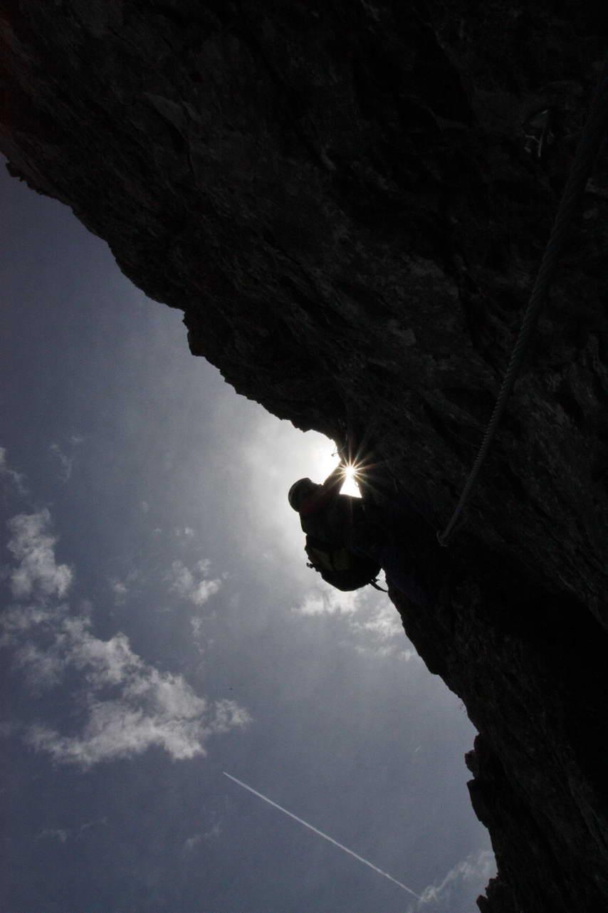 Foto: felskraxler / Klettersteig Tour / Lachenspitze Nordwand Klettersteig / in der Schlüsselstelle / 11.08.2009 00:49:07