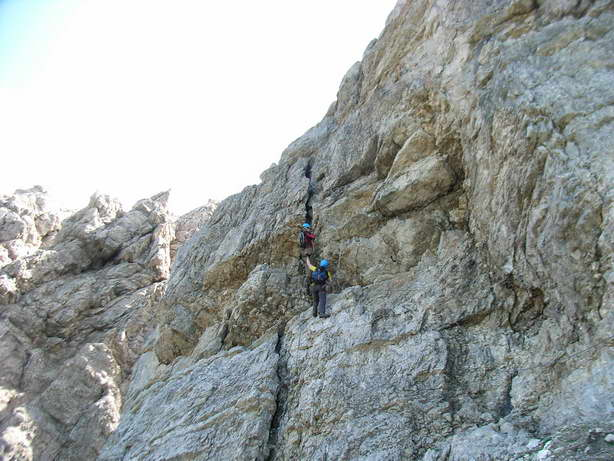 Foto: felskraxler / Klettersteig Tour / Lachenspitze Nordwand Klettersteig / Schlüsselstelle C / D / 11.08.2009 00:35:18