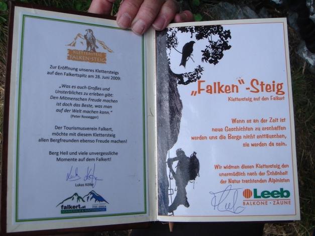 Foto: Manfred Karl / Klettersteig Tour / Falken Klettersteig / Wandbuch / 14.08.2009 21:36:48