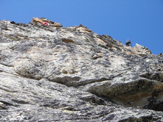 Foto: Manfred Karl / Klettersteig Tour / Südwand Klettersteig auf die Tschenglser Hochwand / Oben quert der Otto Erich Steig / 22.08.2009 21:11:21