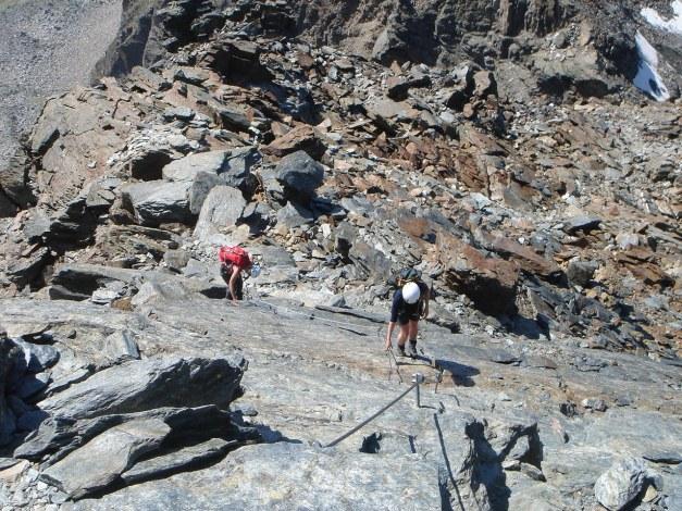 Foto: Manfred Karl / Klettersteig Tour / Südwand Klettersteig auf die Tschenglser Hochwand / Die Platte vor dem Block / 22.08.2009 21:06:28