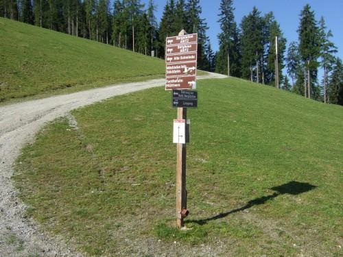 Foto: hofsab / Mountainbike Tour / Rund um das Spielberghorn über Asitzkopf (1914 m) und Schreiende Brunnen / Abzweigung oberhalb der Mittelstation - hier links halten oder die Piste hoch schinden / 28.08.2009 18:57:41
