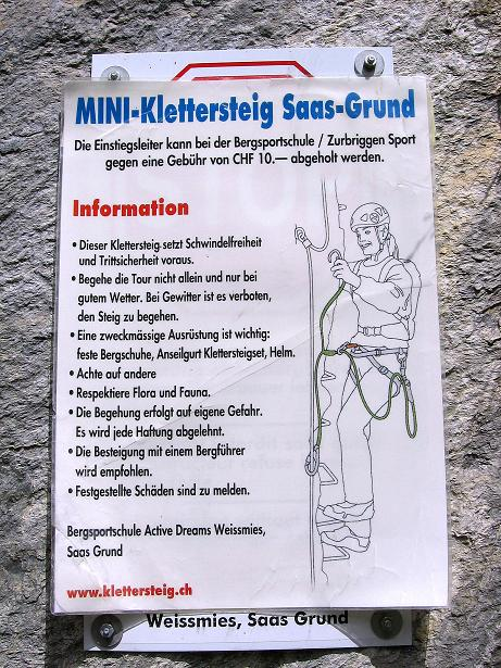 Foto: Andreas Koller / Klettersteig Tour / Mini-Klettersteig Saas Grund (1670 m) / 03.09.2009 20:34:10