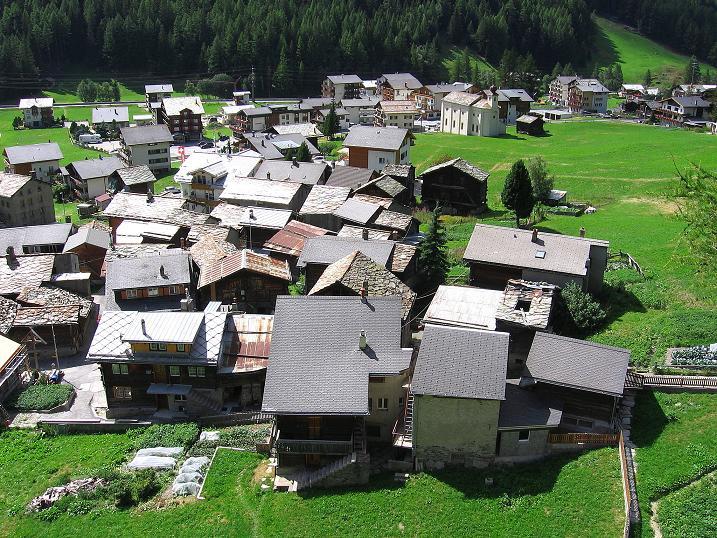 Foto: Andreas Koller / Klettersteig Tour / Mini-Klettersteig Saas Grund (1670 m) / Das alte Saas Grund / 03.09.2009 20:33:01