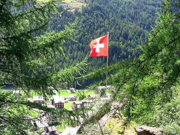 Foto: Andreas Koller / Klettersteig Tour / Mini-Klettersteig Saas Grund (1670 m) / Ausstieg bei der Schweizer Fahne / 03.09.2009 20:30:18