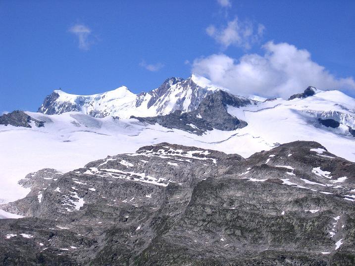 Foto: Andreas Koller / Wander Tour / Stelli - Aussichtsloge über dem Stausee Mattmark (3357 m) / Monte Rosa (4634 m) / 03.09.2009 23:37:21