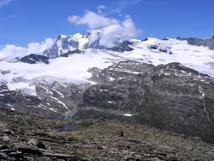 Foto: Andreas Koller / Wander Tour / Stelli - Aussichtsloge über dem Stausee Mattmark (3357 m) / Das Monte Rosa Massiv (4634 m) / 03.09.2009 23:35:31