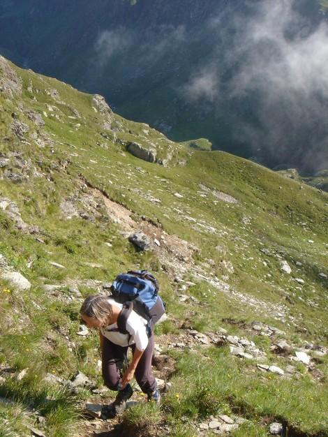 Foto: Manfred Karl / Wander Tour / Eindrucksvoller Dreitausender über dem Vinschgau / Am Beginn der Querung / 31.08.2009 16:30:24