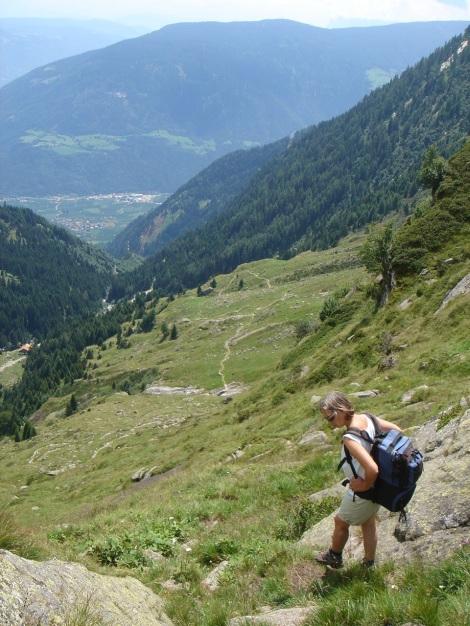 Foto: Manfred Karl / Wander Tour / Eindrucksvoller Dreitausender über dem Vinschgau / Beim Abstieg kurz vor der Mündung in den Hüttenanstieg zur Lodnerhütte / 31.08.2009 16:22:00