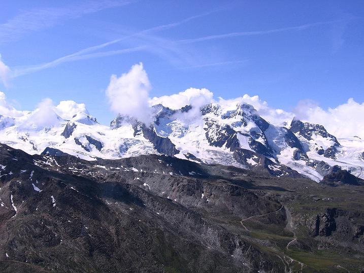Foto: Andreas Koller / Wander Tour / Wanderdreitausender Oberrothorn (3415 m) / Breithorn (4165 m) / 05.09.2009 00:23:23