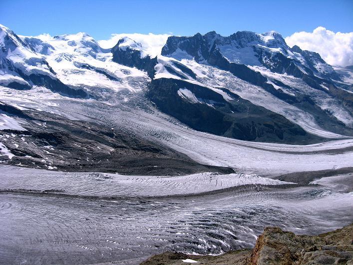Foto: Andreas Koller / Wander Tour / Über den Hohtälligrat auf das Stockhorn (3532 m) / Castor (4228 m), Pollux (4092 m), Roccia Nera (4075 m) und Breithorn (4165 m) / 13.09.2009 23:40:35