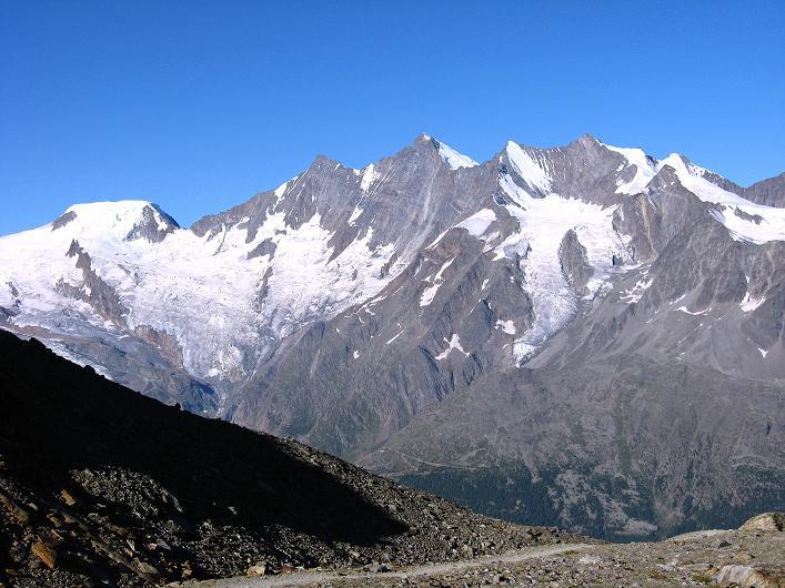 Foto: Andreas Koller / Wander Tour / Lagginhorn (4010 m) / Mischabelkette (4545 m) / 12.09.2009 15:37:17
