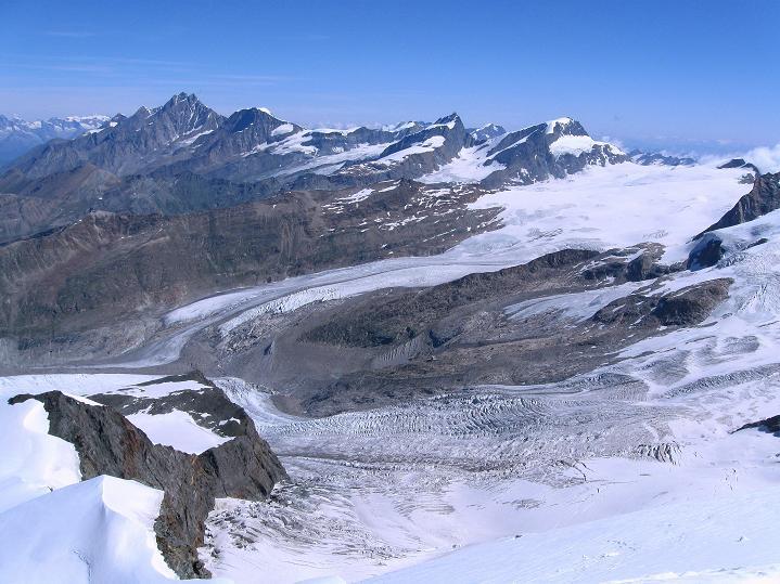 Foto: Andreas Koller / Wander Tour / Pollux (4092 m) / Mischabelgruppe mit Täschhorn (4491 m) und Dom (4545 m) / 04.09.2009 11:02:03