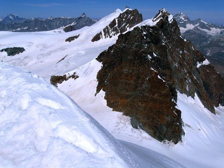 Foto: Andreas Koller / Wander Tour / Pollux (4092 m) / Blick auf den Breithorn-Kamm (4165 m) / 04.09.2009 10:57:17