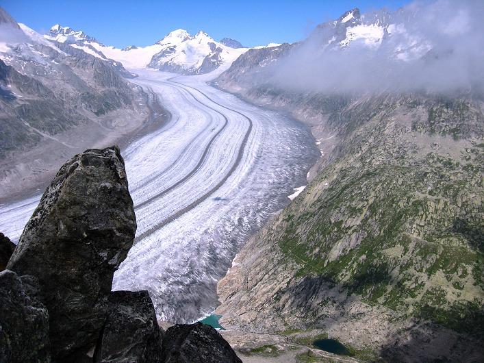 Foto: Andreas Koller / Klettersteig Tour / Klettersteig Eggishorn (2927m) / Der 23km lange Aletschgletscher, längster und größter Gletscher der Alpen / 13.09.2009 15:40:42