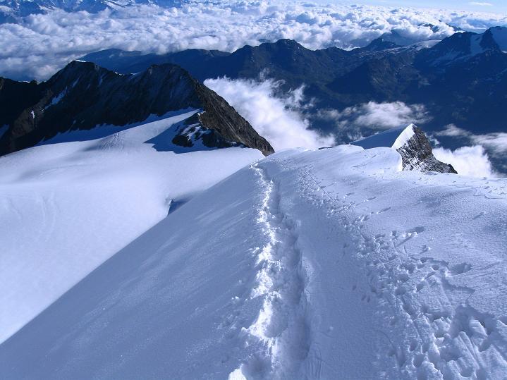 Foto: Andreas Koller / Wander Tour / In die Mischabelkette: Nadelhorn (4327 m) und Ulrichshorn (3925 m) / Der Nadelhorn NO-Grat / 05.09.2009 15:39:26