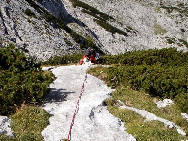 Foto: Manfred Karl / Kletter Tour / Über die Wasserrillenwelt auf das Sommereck / Letzter Fels zwischen Gras und Latschen ;-) / 31.08.2009 22:53:21