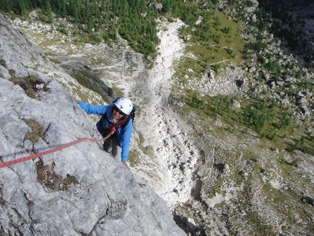 Foto: Manfred Karl / Kletter Tour / Östlicher Mur de Pisciadu, NO-Pfeiler, Via della Chiesa / Teilweise sehr luftige Kletterei in herrlichem Plattenfels / 31.08.2009 23:16:31