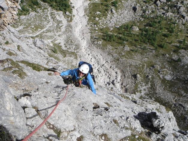 Foto: Manfred Karl / Kletter Tour / Östlicher Mur de Pisciadu, NO-Pfeiler, Via della Chiesa / 31.08.2009 23:15:58