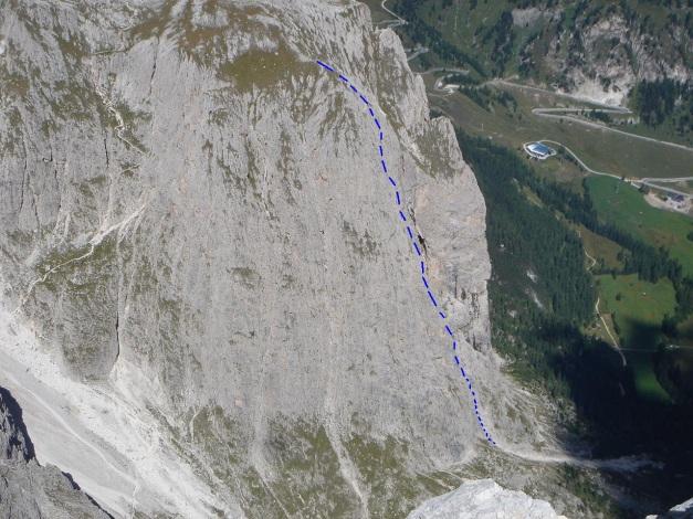 Foto: Manfred Karl / Kletter Tour / Östlicher Mur de Pisciadu, NO-Pfeiler, Via della Chiesa / Ungefährer Routenverlauf / 31.08.2009 23:12:26