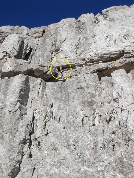 Foto: Manfred Karl / Kletter Tour / Klettern im Himmelreich / SU-Schlinge als Einstiegsmarkierung / 31.08.2009 23:57:11
