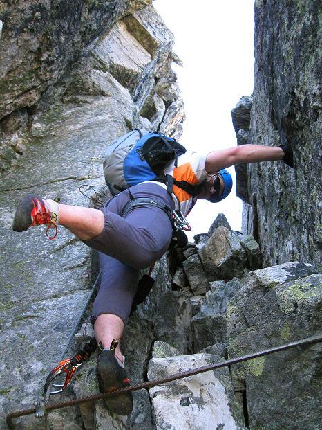 Foto: Andreas Koller / Klettersteig Tour / Bella Vista Klettersteig auf die Hohe Leier (2774 m) / Offener Kamin / 06.09.2009 23:31:38