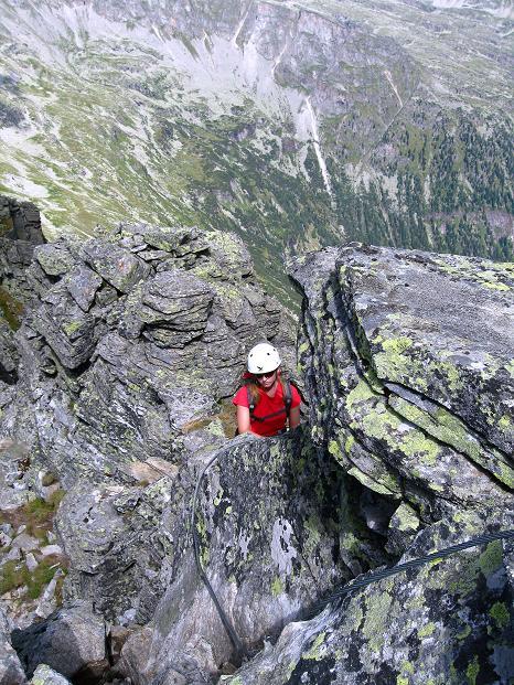 Foto: Andreas Koller / Klettersteig Tour / Bella Vista Klettersteig auf die Hohe Leier (2774 m) / Kurz vor der kurzen Zwei-Seilbrücke / 06.09.2009 23:23:13