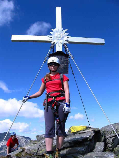 Foto: Andreas Koller / Klettersteig Tour / Bella Vista Klettersteig auf die Hohe Leier (2774 m) / Am Gipfel der Hohen Leier / 06.09.2009 23:18:30