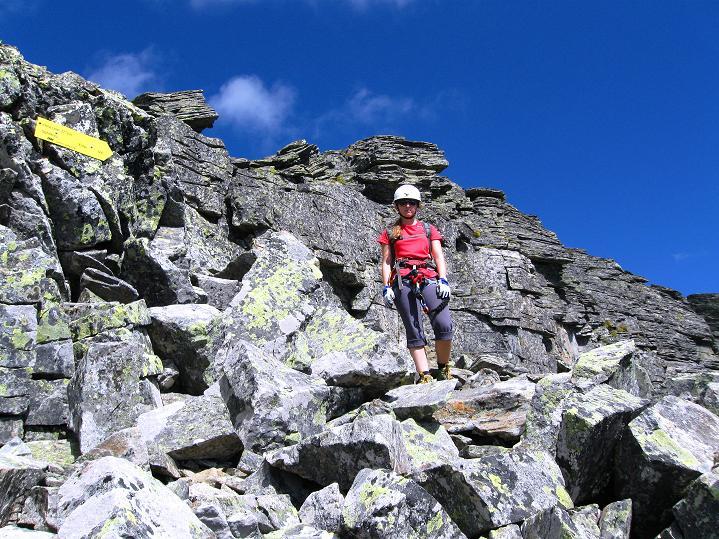 Foto: Andreas Koller / Klettersteig Tour / Bella Vista Klettersteig auf die Hohe Leier (2774 m) / Abstieg am Normalweg, teilweise versichert (B), in der plattig gestuften SW-Flanke / 06.09.2009 23:14:40