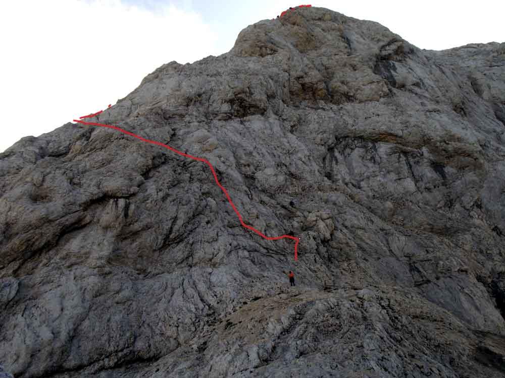 Foto: Datzi / Wander Tour / 4-Tages Biwakrundtour in den Julischen Alpen mit 3.Gipfelanstiegen (Triglav-Razor-Skrlatica) mit Klettersteig C-D / Einstieg zum Klettersteig vom Triglav / 04.09.2009 18:22:36