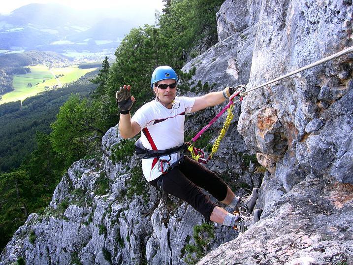 Foto: Andreas Koller / Klettersteig Tour / Klettersteig Steirerspur (1132m) / Luftige Passage (C) / 08.09.2009 00:57:34