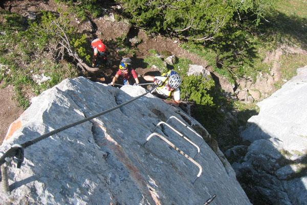 Foto: Christian Schickmayr / Klettersteig Tour / Schustergangl-Klettersteig, Rundtour / Einstiegsleiter / 07.09.2009 20:53:11