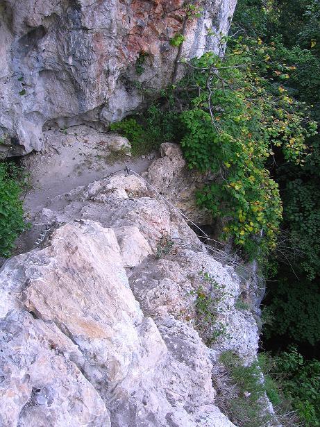 Foto: Andreas Koller / Klettersteig Tour / Währinger Steig (630 m) / Die Felsnische nach der senkrechten Einstiegswand / 10.09.2009 22:57:24