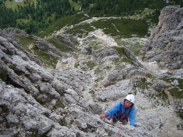 Foto: Manfred Karl / Kletter Tour / Großer Falzaregoturm, Westwand / Kletterei im unteren Teil der Westwand / 10.09.2009 21:09:37