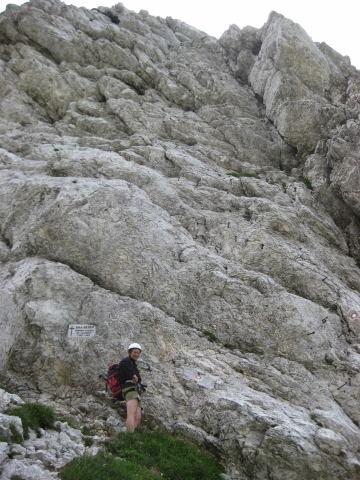Foto: Wolfgang Lauschensky / Klettersteig Tour / Triglav Überschreitung Bambergweg - Ostgrat / Einstieg in den Bambergweg beim Luknjapass  / 11.09.2009 20:42:15